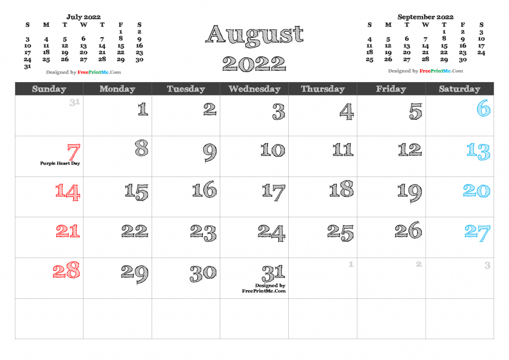 Download and Print August 2022 Calendar Template as PDF and Image
