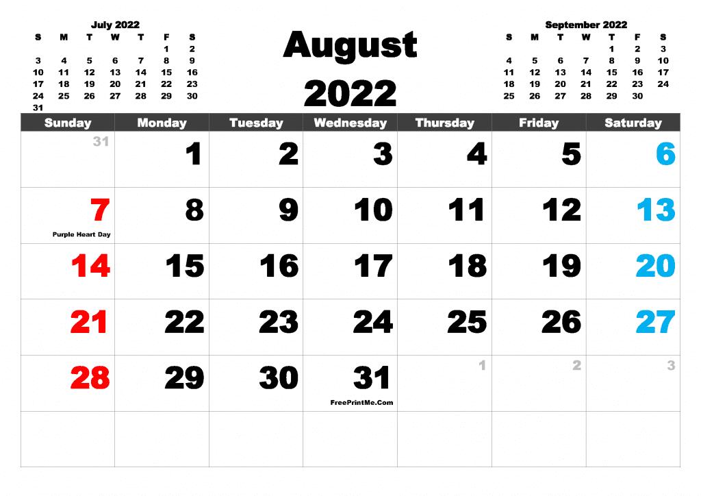 Free Printable August 2022 Calendar PDF and Image