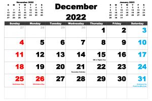 Free Printable December 2022 Calendar PDF, PNG Image
