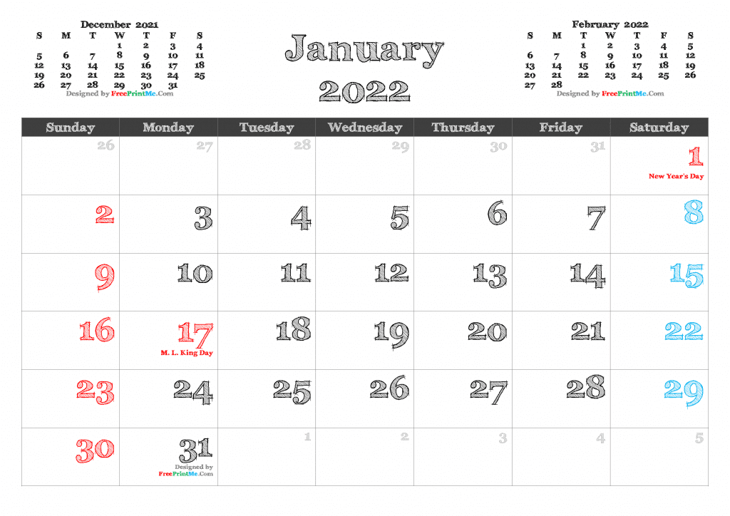 Free download January 2022 Calendar with Holidays as PDF and Image