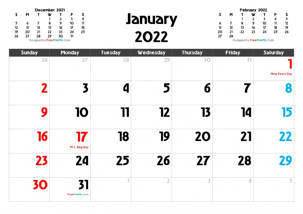 Free Printable January 2022 Calendar PDF and Image