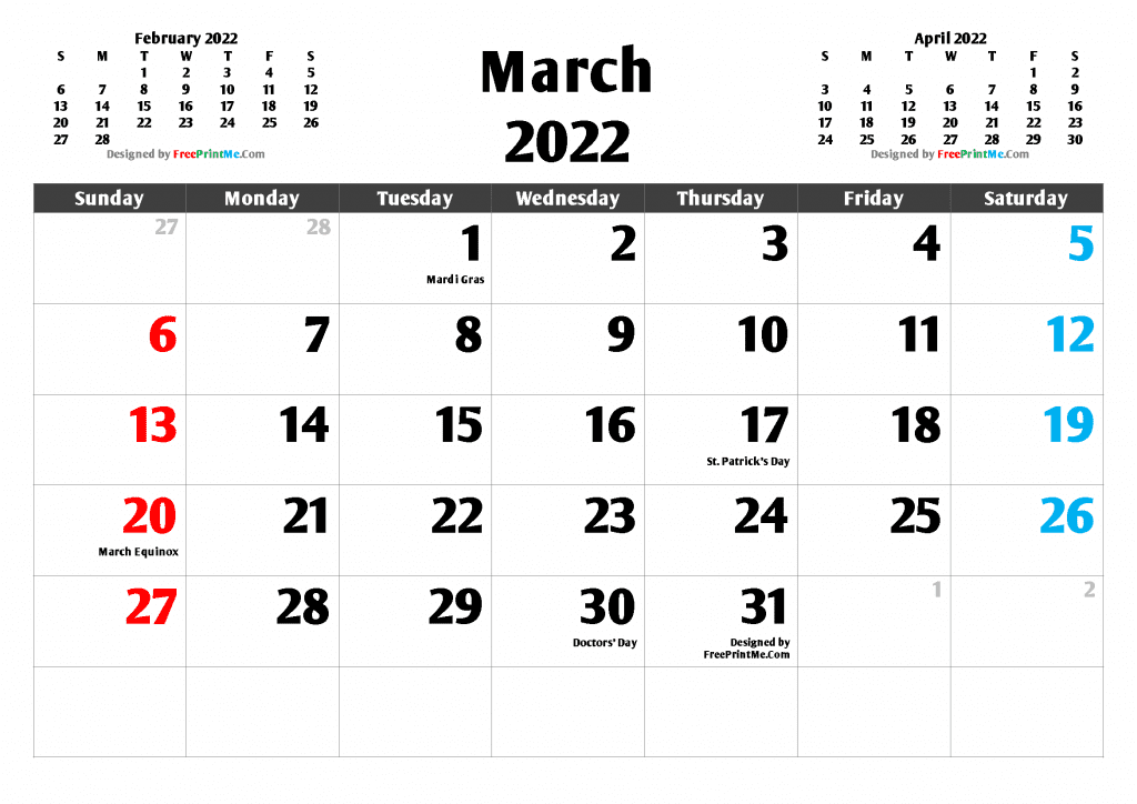 Free Printable March 2022 Calendar PDF and Image