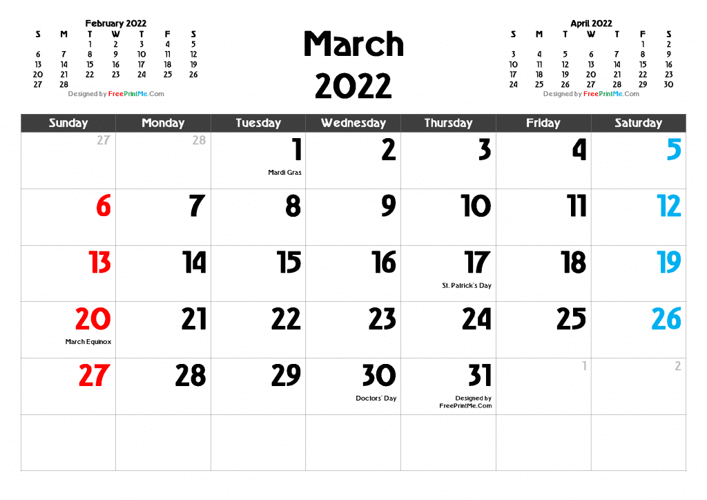 Printable and Editable March 2022 Calendar with Holidays PDF and Image