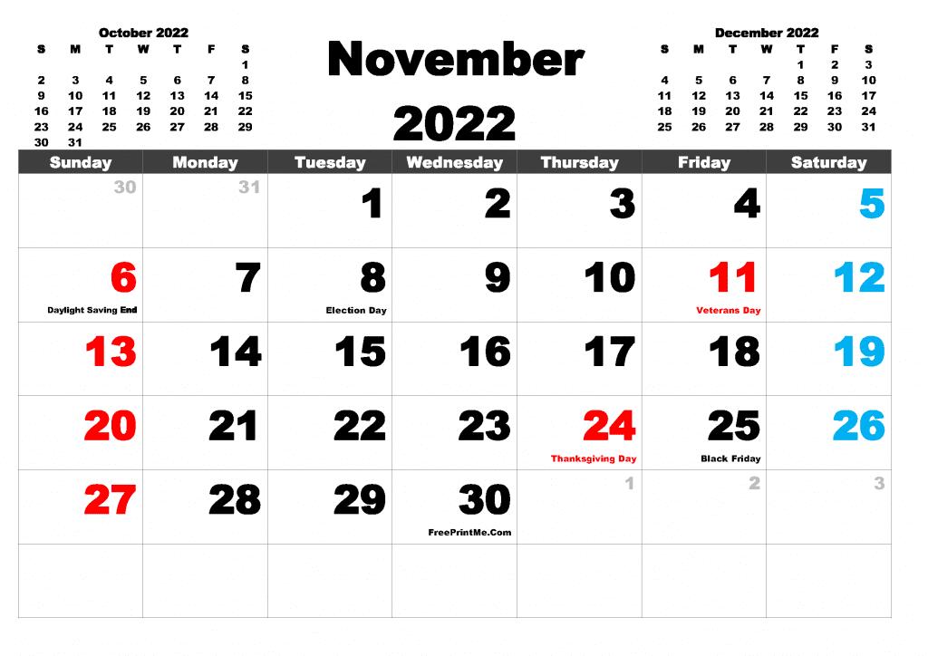 Free Printable November 2022 Calendar PDF, PNG Image