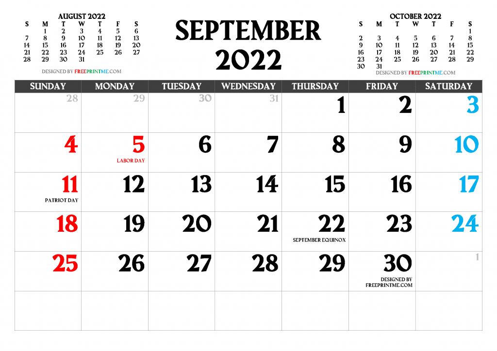 Free Printable September 2022 Calendar PDF