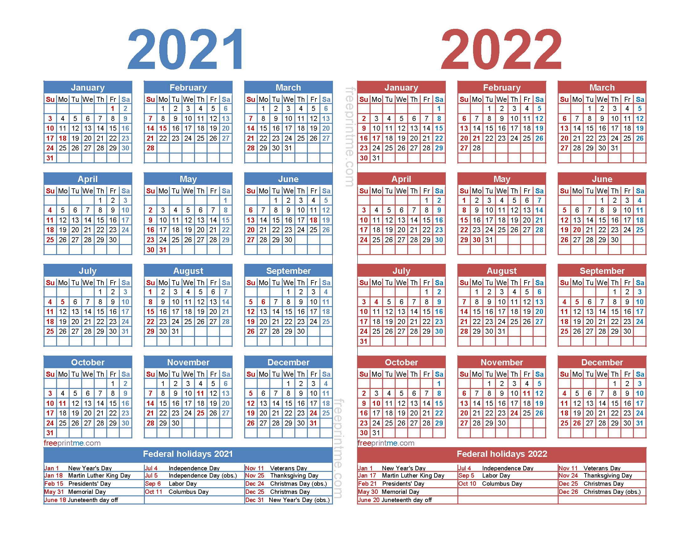 Free 2021 and 2022 Calendar Printable with Holidays as PDF and Image