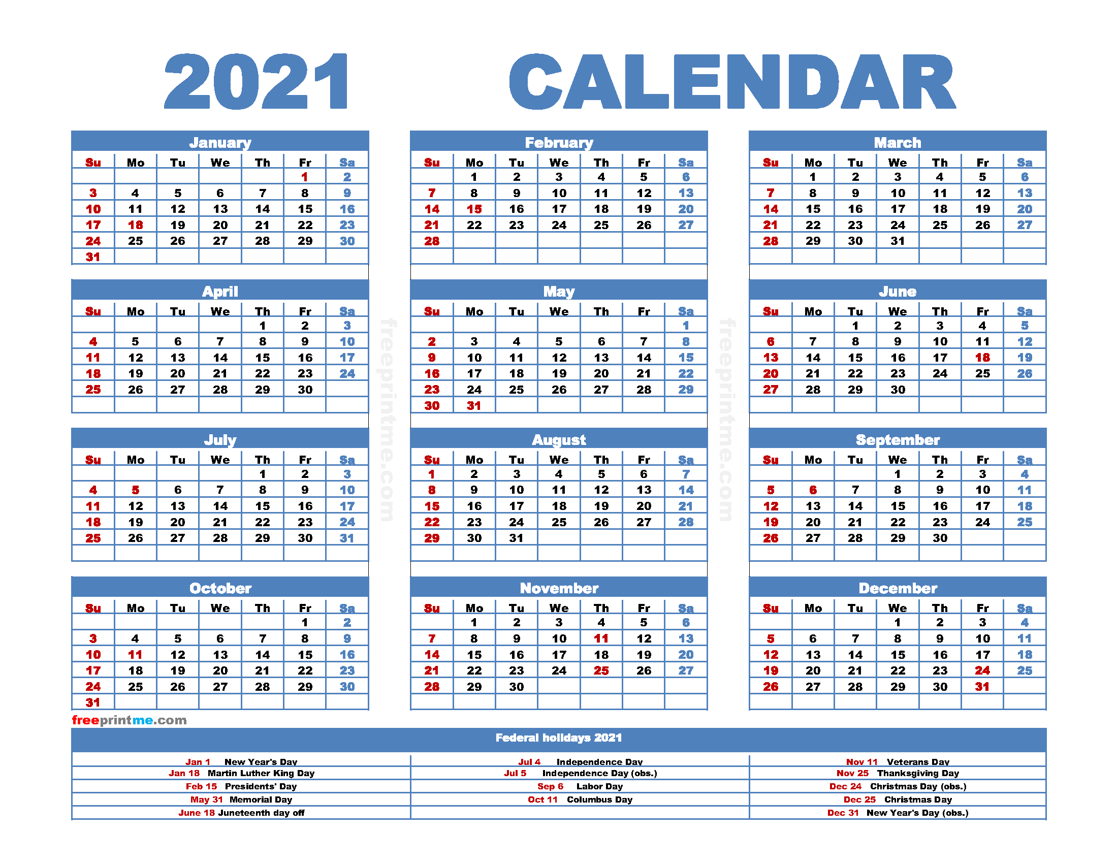 Free Printable 2021 Calendar with Holidays as PDF and Image