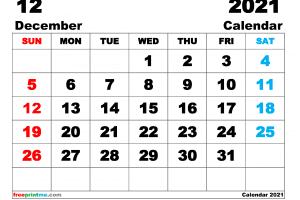 Free Printable December 2021 Calendar as PDF and Image