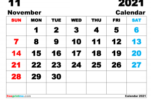 Free Printable November 2021 Calendar as PDF and Image