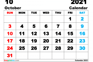 Free Printable October 2021 Calendar as PDF and Image